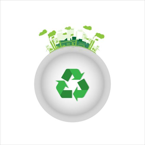 558564-fabbrica-industriale-ecologia-con-simbolo-di-riciclo-verde-vettoriale L'incisione Laser nell'Industria Fusoria